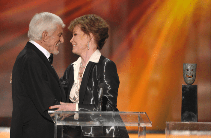 LOS ANGELES, CA - JANUARY 29: Actors Dick Van Dyke and Mary Tyler Moore speak onstage during The 18th Annual Screen Actors Guild Awards broadcast on TNT/TBS at The Shrine Auditorium on January 29, 2012 in Los Angeles, California. | Source: Getty Images