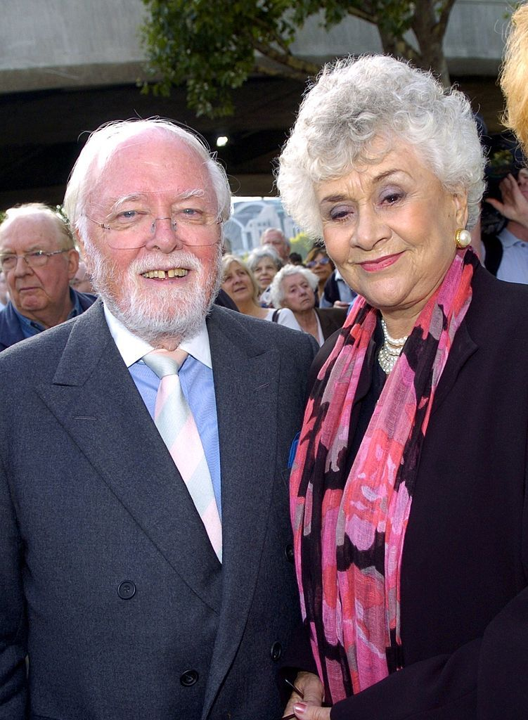 Lord Richard Attenborough and Joan Plowright attend the unveiling of a statue of Sir Lawrence Olivier. | Source: Getty Images