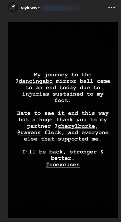 "Ray Lewis announces that a foot injury has forced him to quit ""Dancing with the Stars"" 