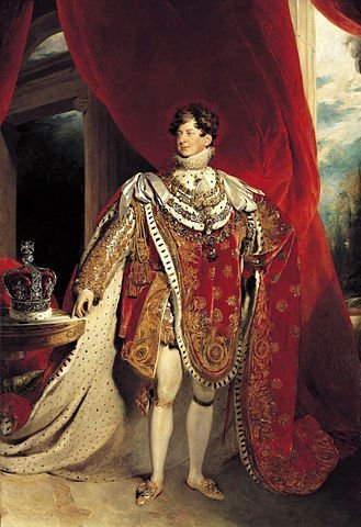 George IV depicted wearing coronation robes and four collars of chivalric orders: the Golden Fleece, Royal Guelphic, Bath and Garter. | Source: Wikipedia.