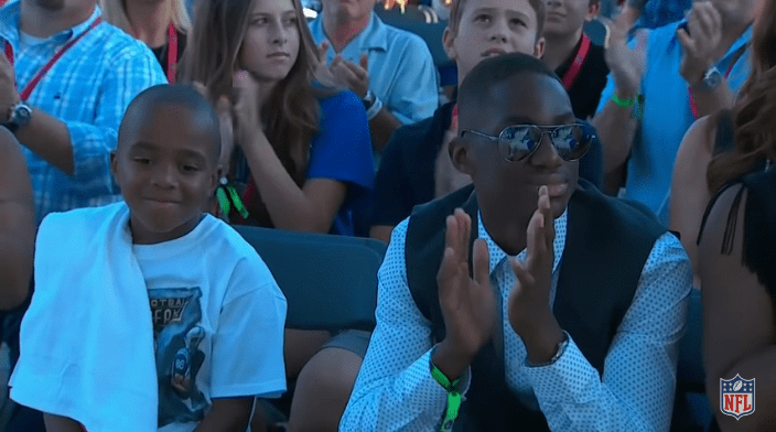Marvin Harrison's sons, Marvin Jr. and Jett at his Hall of Fame induction ceremony on August, 2016   Source: YouTube/NFL