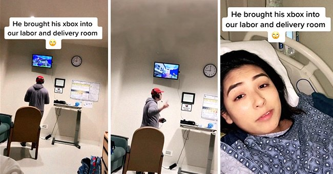 Pregnant woman lies in a hospital bed and shows viewers her boyfriend who is gaming in the room | Photo: TikTok/anxietycouple