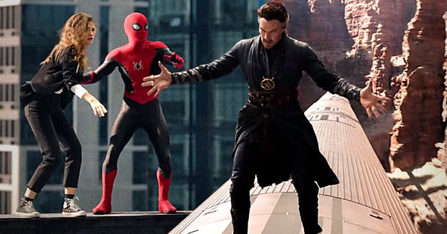 Mary Jane and Peter Parker in his Spider-Man costume on the left and Doctor Strange on top of a train on the right   Photo: Youtube.com/Sony Pictures Entertainment