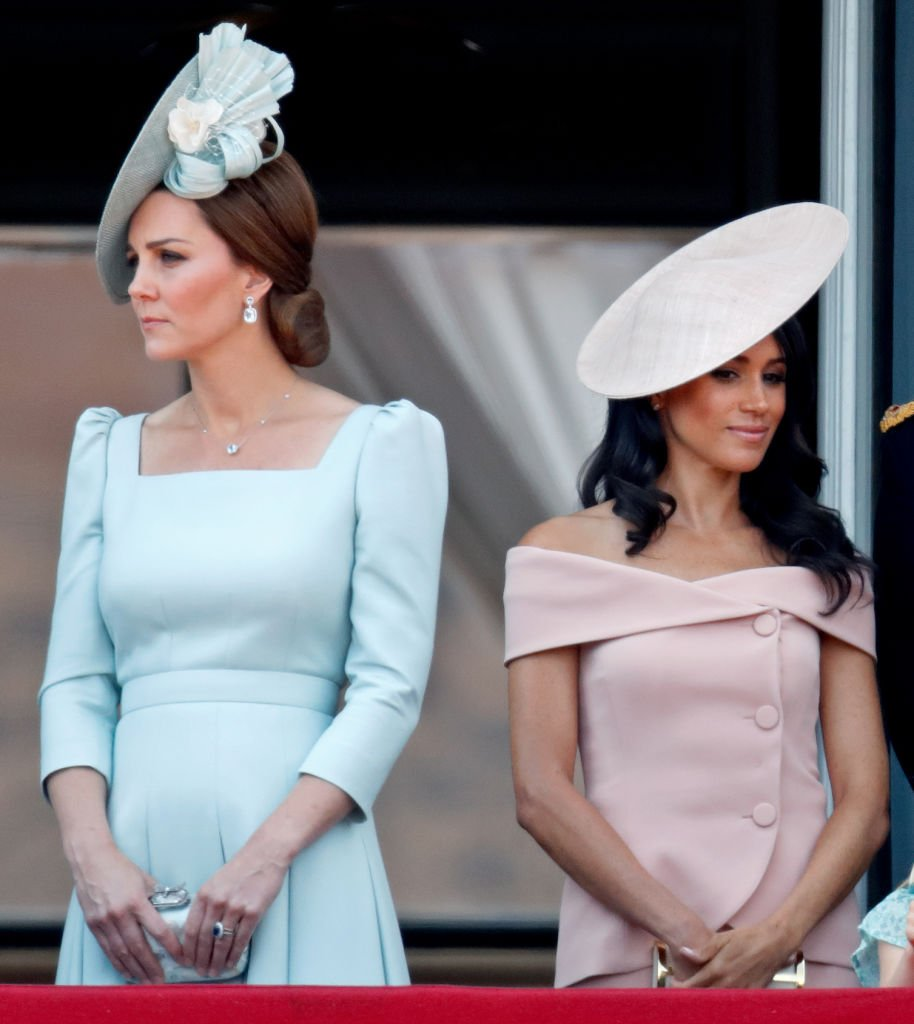 Catherine and Meghan stand on the balcony of Buckingham Palace during Trooping The Colour 2018 on June 9, 2018. | Photo: Getty Images