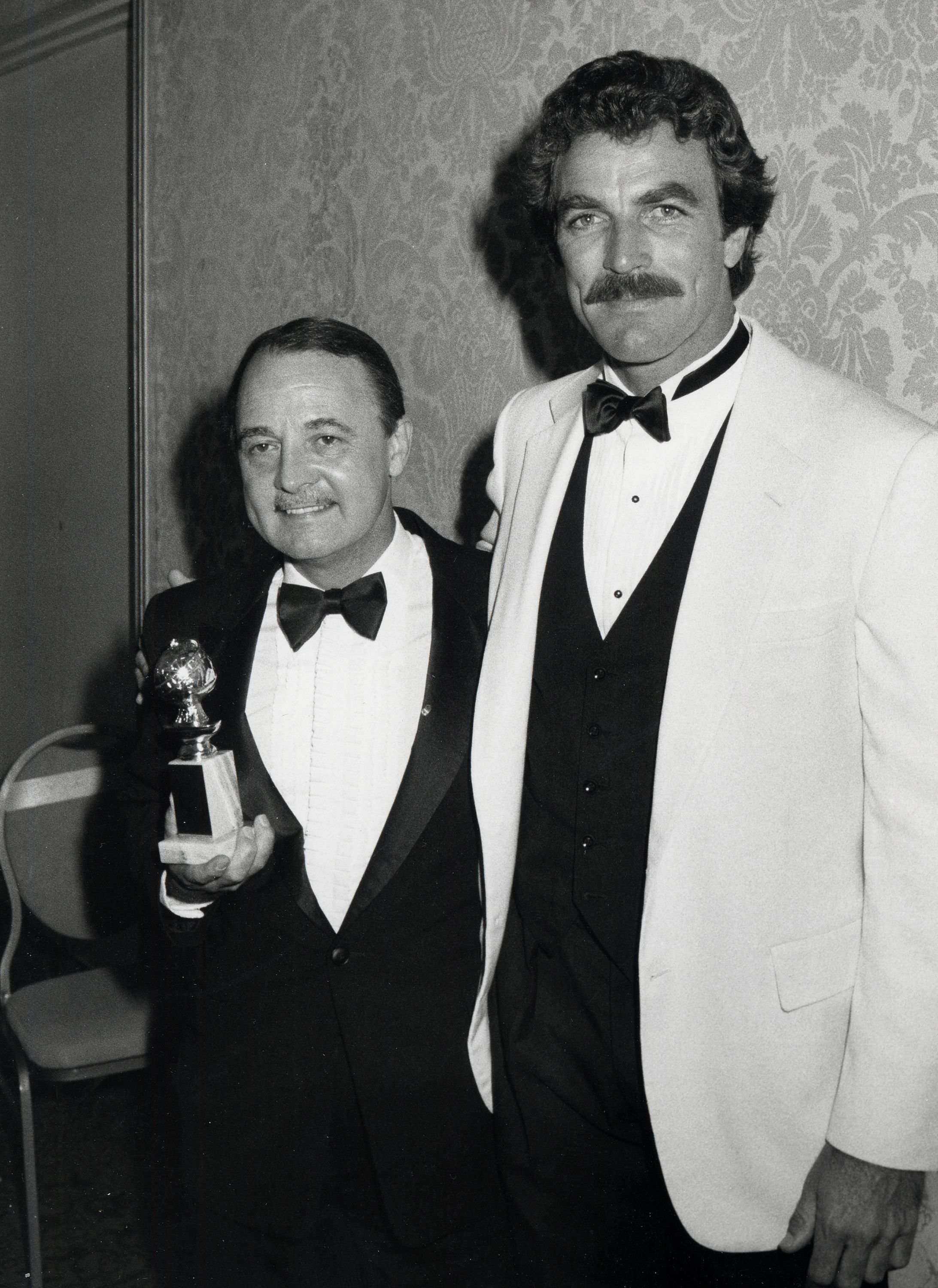John Hillerman and Tom Selleck during 39th Annual Golden Globe Awards in Beverly Hills   Surce: Getty Images