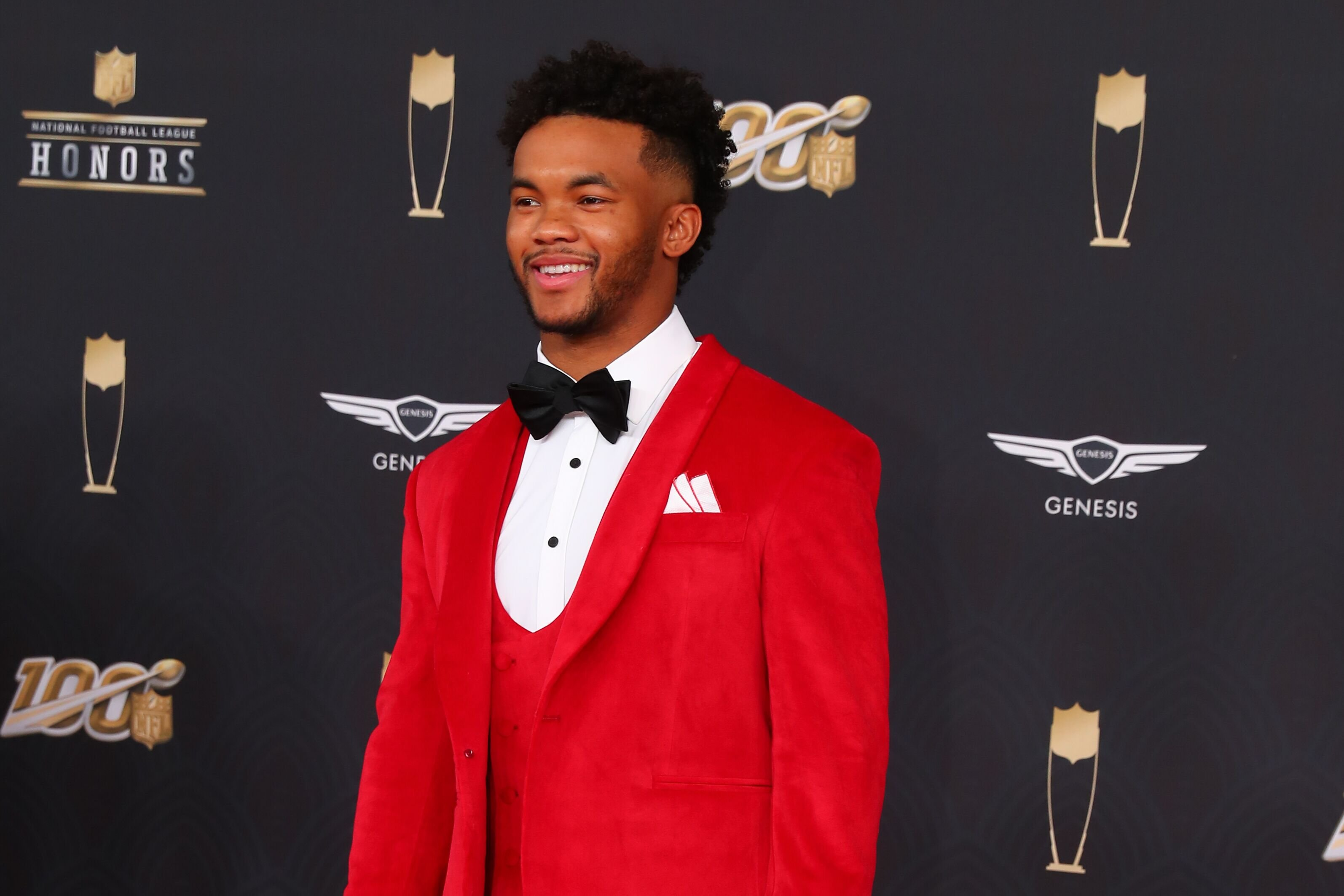 Kyler Murray poses on the Red Carpet poses prior to the NFL Honors on February 1, 2020 at the Adrienne Arsht Center.   Source: Getty Images