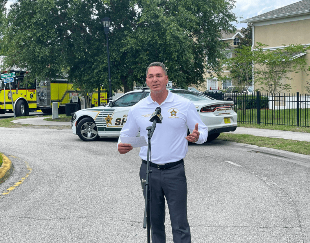 Pictured - Hillsborough County Sherriff, Chad Chronister addressing the press   Source: Facebook/SheriffChadChronister
