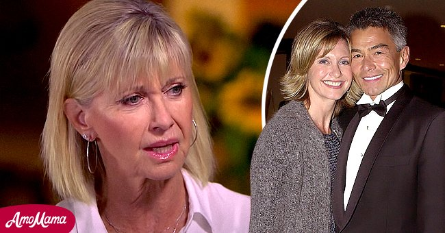 Olivia Newton-John in an interview and with her ex-boyfriend Patrick McDermott in February 2001 in Los Angeles, California | Photo: YouTube.com/CBSSundayMorning - Getty Images