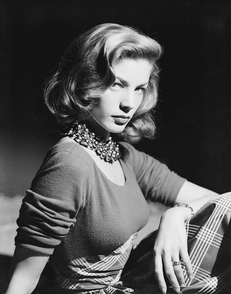 circa 1945: American screen star Lauren Bacall wearing an ornate beaded necklace. | Source: Getty Images