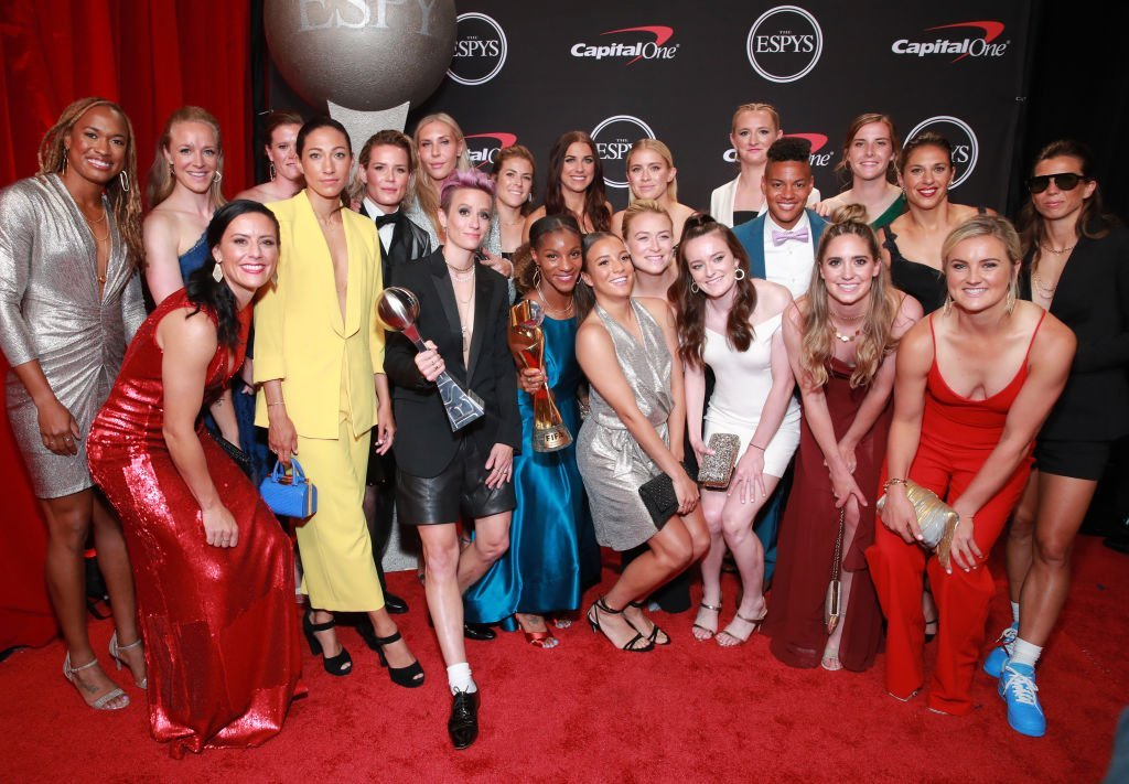 Members of the United States Women's National Soccer Team, winners of the Best Team award, pose during The 2019 ESPYs at Microsoft Theater | Getty Images