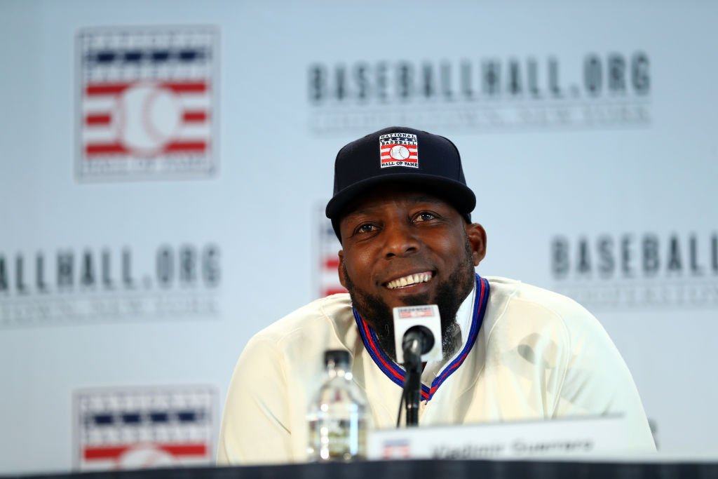 Vladimir Guerrero smiles during the 2018 Baseball Hall of Fame press conference announcing this year's induction class on Thursday, January 25, 2018 at the St. Regis Hotel in New York City | Photo: GettyImages