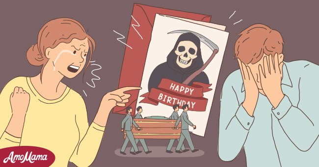 Mother shouts at son for giving late husband a Grim Reaper birthday card | Photo: Amomama