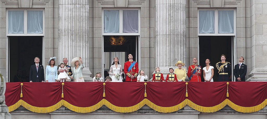 James Middleton on the palace balcony with the Royal family at his sister, Kate Middleton's wedding in 2011 | Getty Images/ Global Images Ukraine
