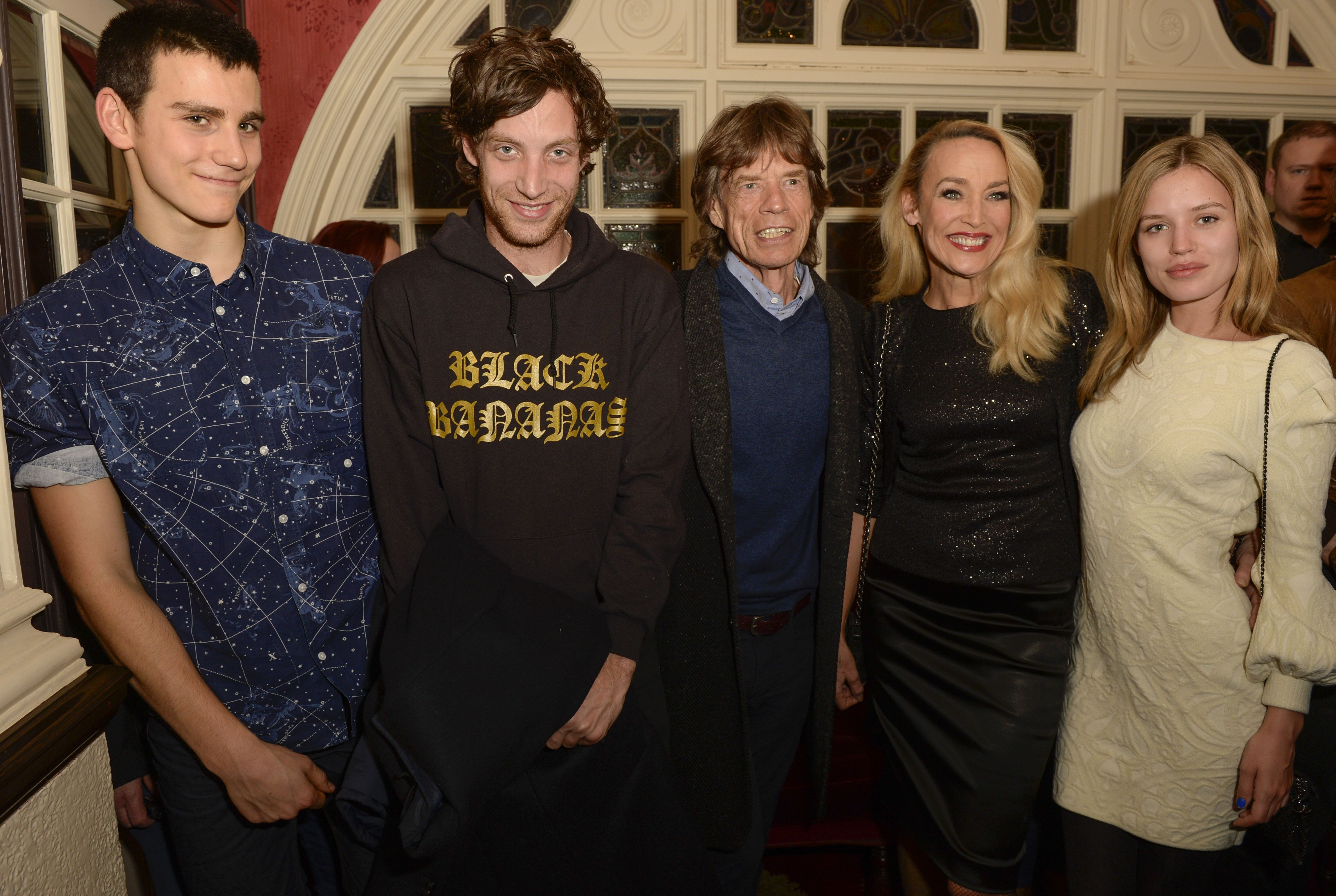 """Gabriel Jagger, James Jagger, Sir Mick Jagger, Jerry Hall and Georgia May Jagger attend the press night performance of """"Snow White And The Seven Dwarfs."""" 