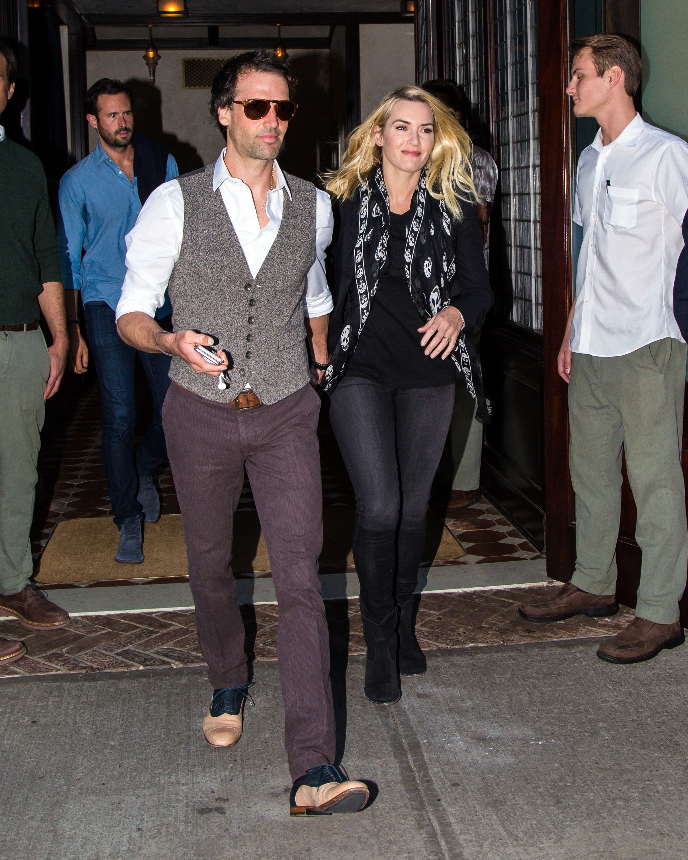 Ned Rocknroll and Kate Winslet leaving a hotel in 2015 in New York City   Source: Getty Images