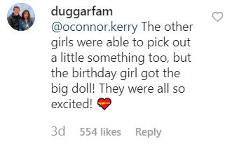 Screenshot of comments from social media. | Source: Instagram.com/Duggarfam