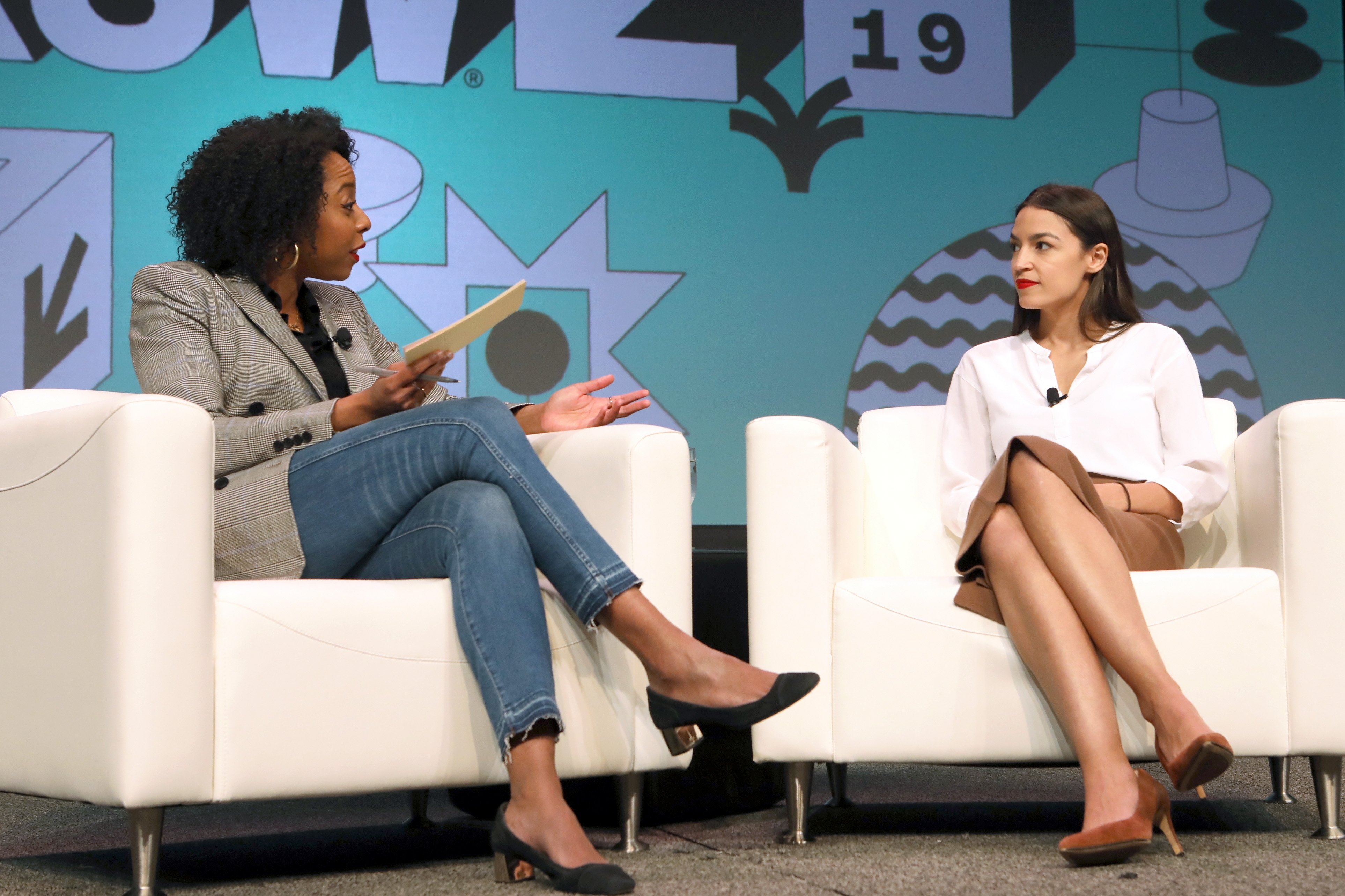 Briahna Gray interviewing Alexandria Ocasio-Cortez at the 2019 SXSW Conference and Festivals | Photo: Getty Images