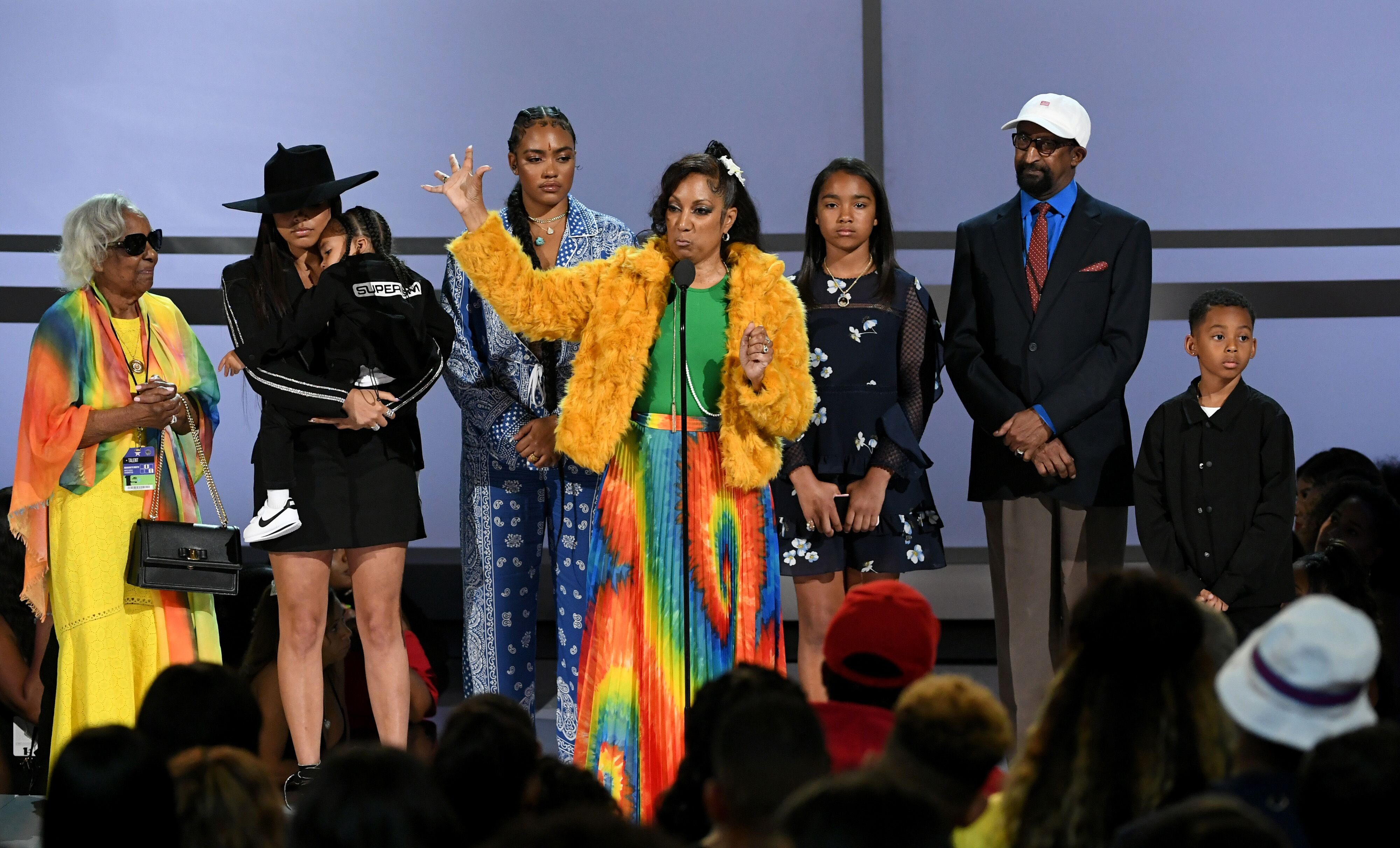 Lauren London and Nipsey Hussle's family during his memorial service at the Staples Center | Source: Getty Images/GlobalImagesUkraine