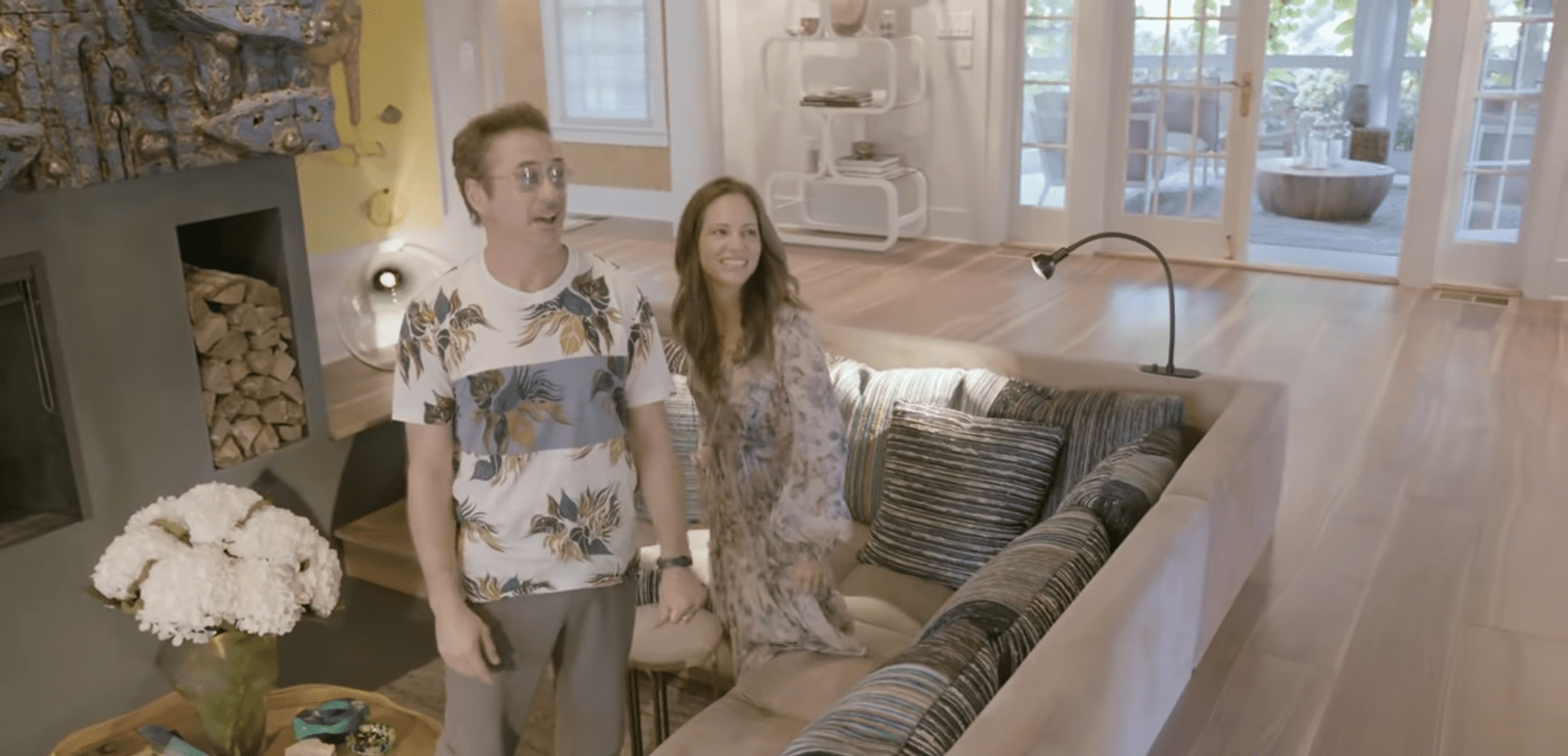 Robert Downey and his wife Susan showing off the furniture in their home.   Photo: YouTube/ArchitecturalDigest