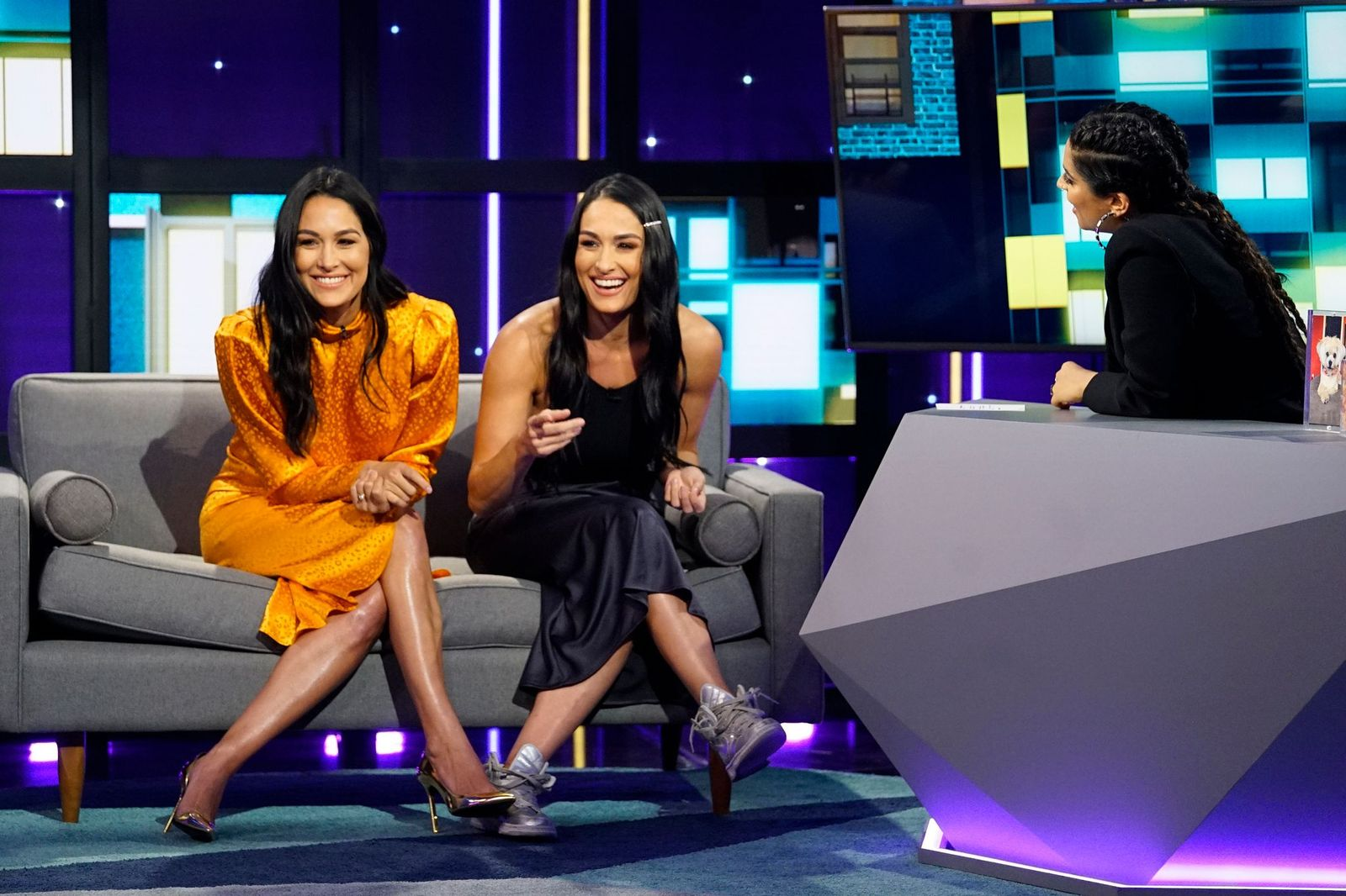 """Brie and Nikki Bella and Lilly Singh on season 1 of """"A Little Late With Lilly Singh"""" 