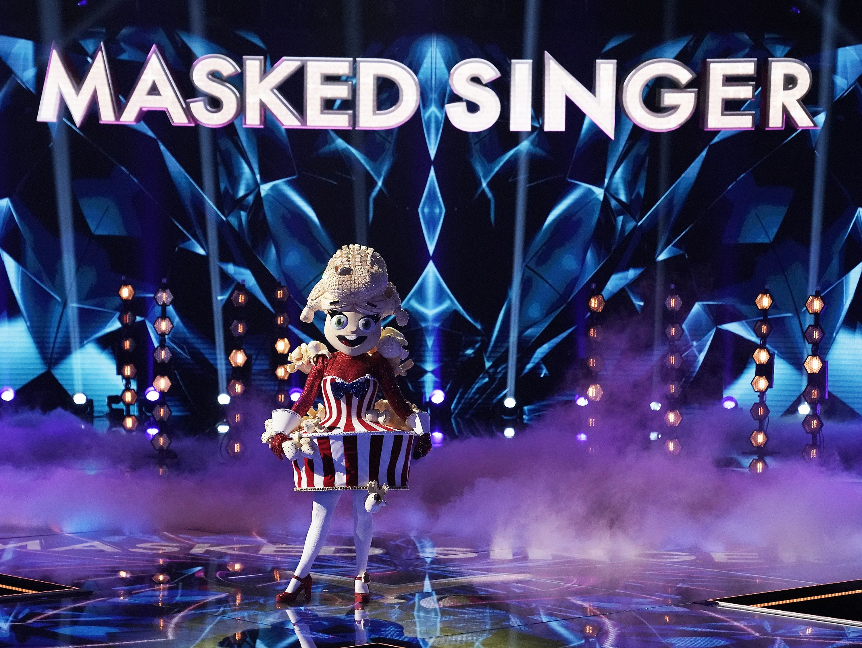 """Popcorn in the The Group A Play Offs  on an episode """"The Masked Singer"""" on August 21, 2020   Photo: Getty Images"""