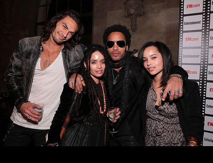 Jason Momoa, Lisa Bonet, Lenny Kravitz and Zoe Kravitz at the Entertainment Weekly's Party at Chateau Marmont on February 25, 2010 in Los Angeles, California I Credit: Getty Images