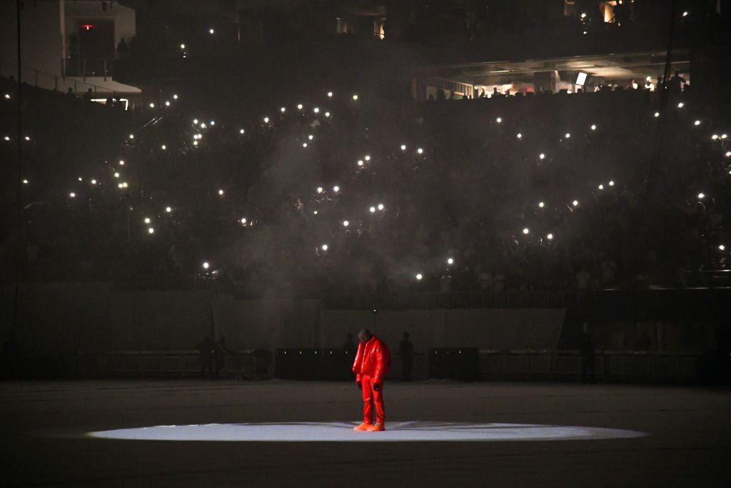Kanye West at the first 'DONDA' listening event at Mercedes-Benz Stadium, July 2021   Source: Getty Images