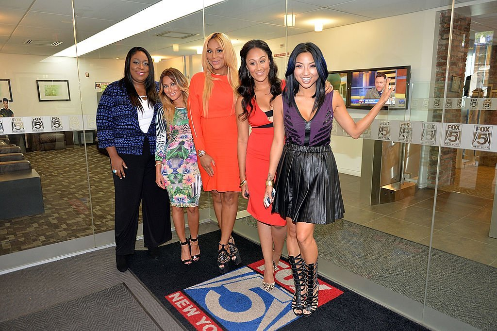 (L-R) Loni Love, Adrienne Houghton, Tamar Braxton, Tamera Mowry-Housley & Jeannie Mai in New York City on July 15, 2013. | Photo: Getty Images