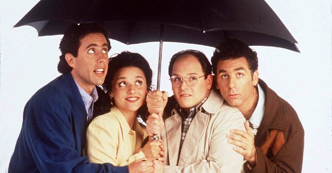 """The cast of """"Seinfeld"""" posing for a promotional photo, 1997 