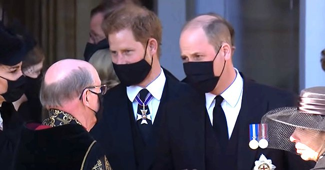 Prince Harry and Prince William pictured together outside of St. George's Chapel in April 2021, London, England. | Photo: Youtube.com/The Royal Family Channel