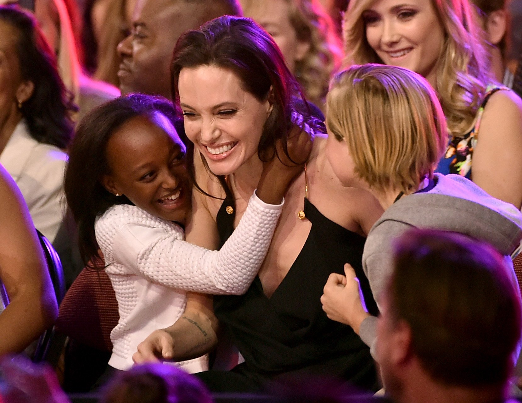 Angelina Jolie, Zahara Marley Jolie-Pitt, and Shiloh Nouvel Jolie-Pitt on March 28, 2015. | Photo: Getty Images