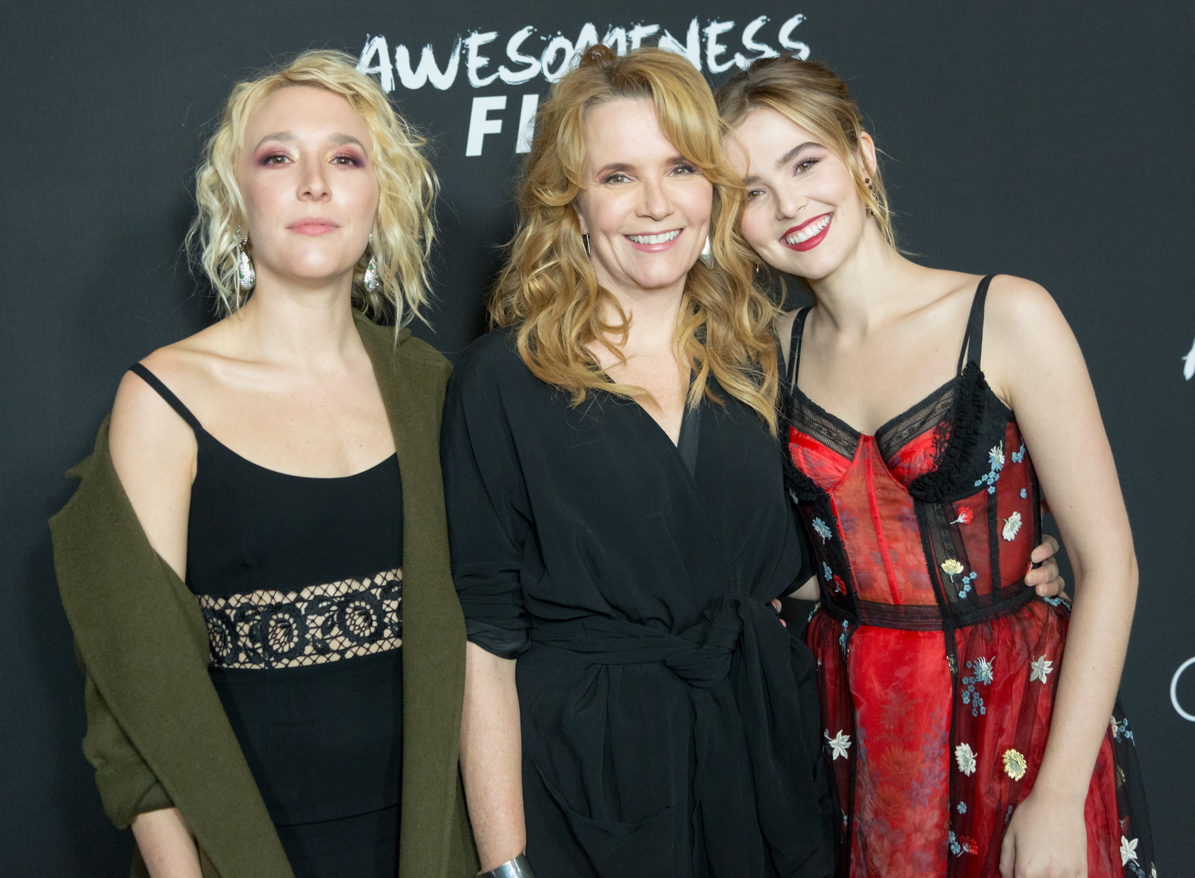 """Actress Lea Thompson (C) with her daughters Madelyn Deutch (L) and Zoey Deutch (R) attend the Premiere Of Open Road Films' """"Before I Fall"""" at the Directors Guild Of America on March 1, 2017 in Los Angeles, California.   Source: Getty Images"""