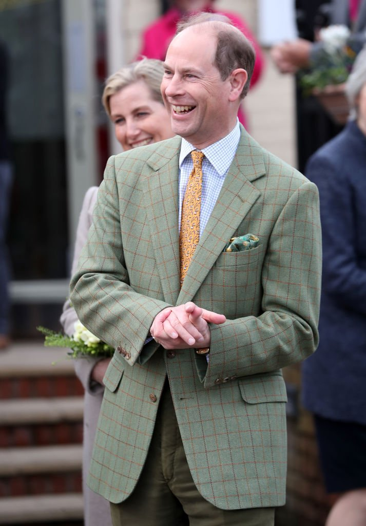 Prince Edward, Earl of Wessex smiles at wellwishers after a visit to Tiptree Jam Factory with Sophie, Countess of Wessex on March 10, 2020 in Tiptree, United Kingdom. | Photo: Getty Images