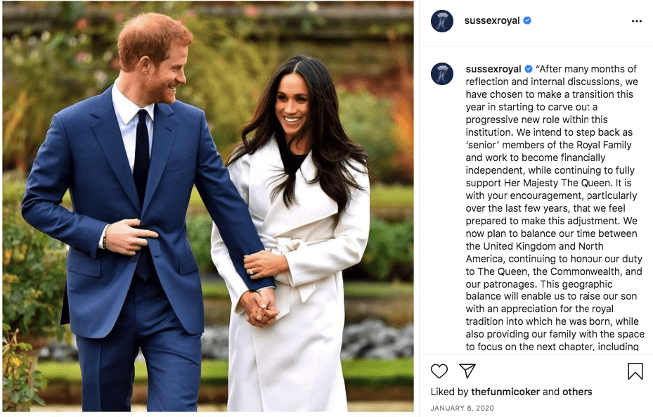 A screenshot of Meghan Markle and Prince Harry on their Instagram page | Photo: instagram.com/sussexroyal