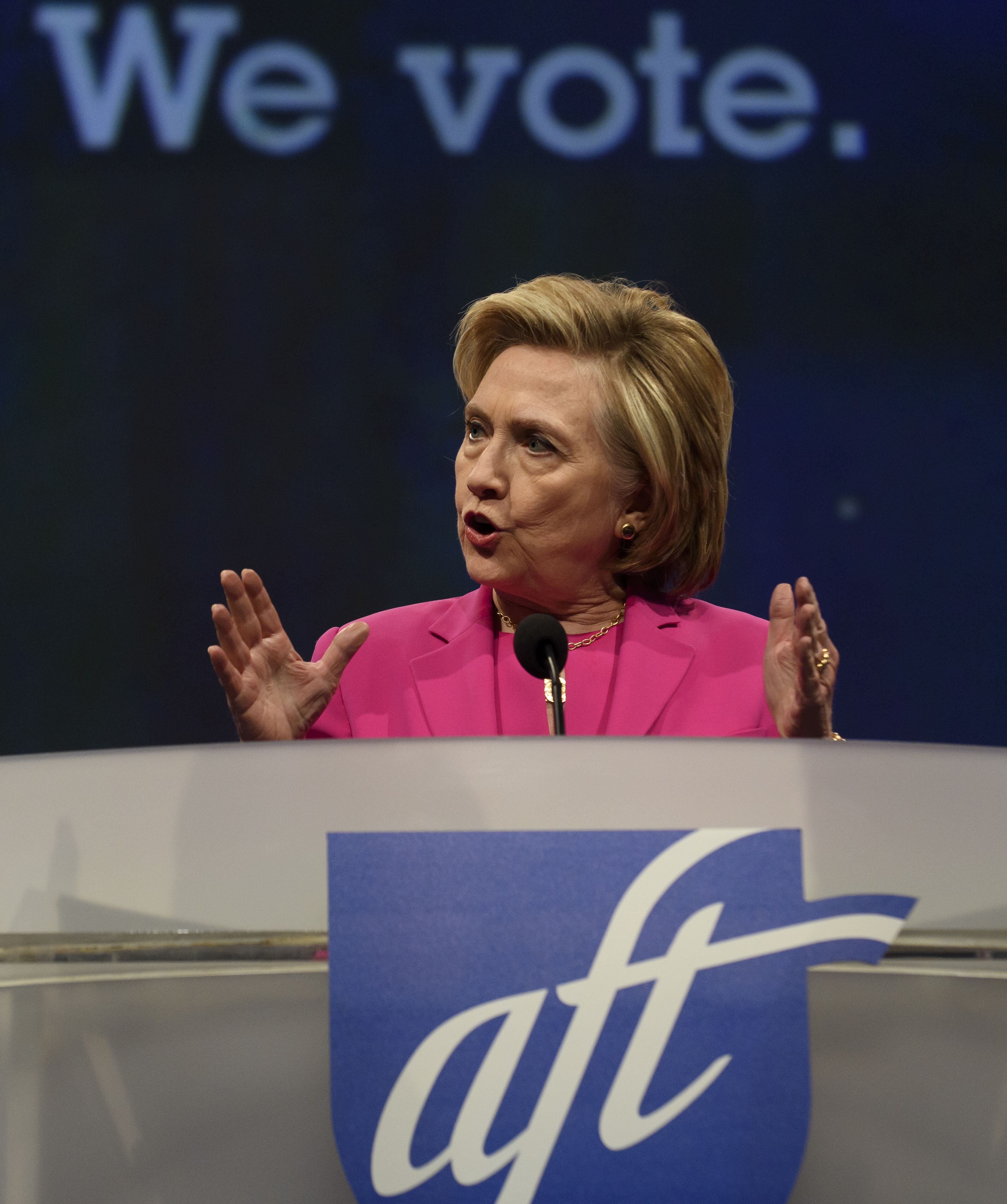 Hillary Clintonat the annual convention of the American Federation of Teachers in Pittsburgh in 2018 | Source: Getty Images