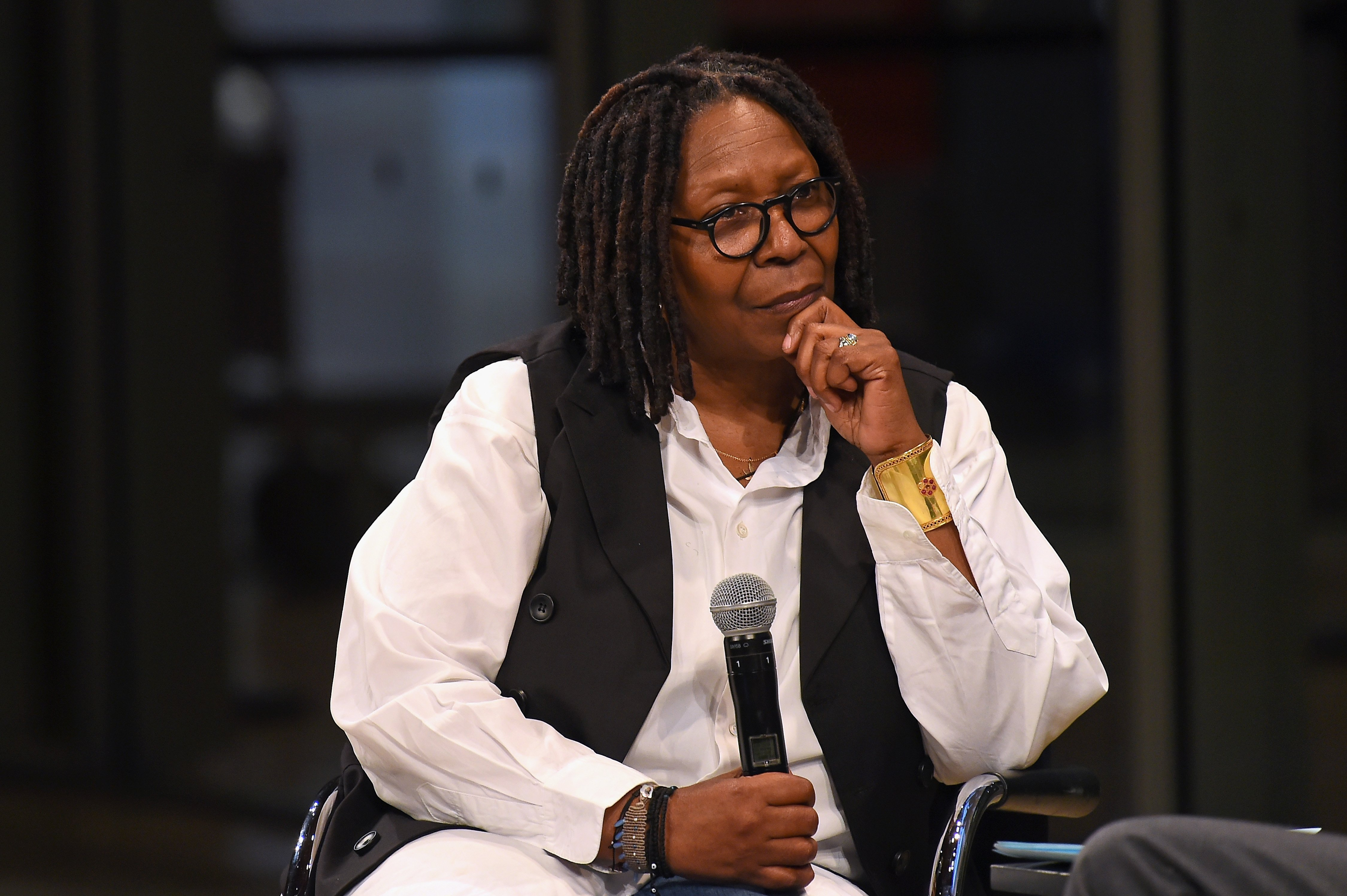 Whoopi Goldberg speaks onstage during the Academy Museum Conversation at The Times Center, featuring Whoopi Goldberg, Kerry Brougher and Renzo Piano on April 16, 2018 | Photo: GettyImages