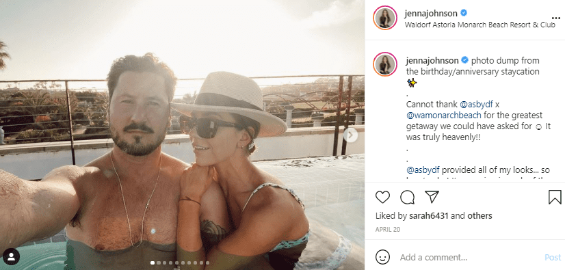 """""""Dancing With The Stars"""" couple Val Chmerkovskiy and his wife Jenna Johnson, shares picture from their anniversary on Instagram   Photo: Instagram/jennajohnson"""