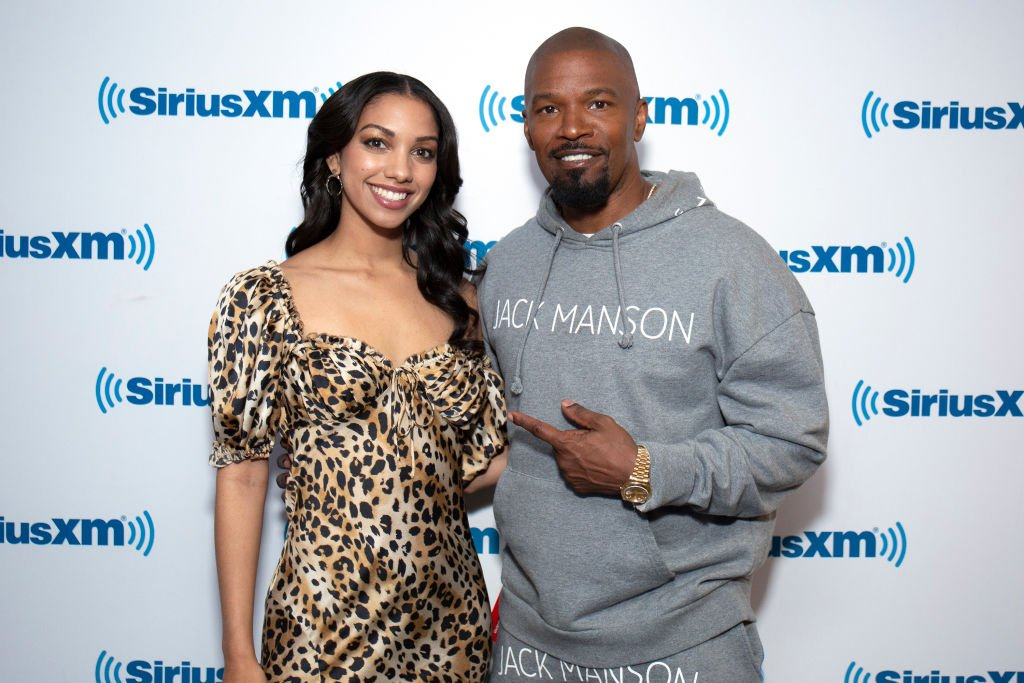 Actress Corinne Foxx with her award-winning actor and father Jamie Foxx during their 2019 visit to SiriusXM Studios in New York City.   Photo: Getty Images