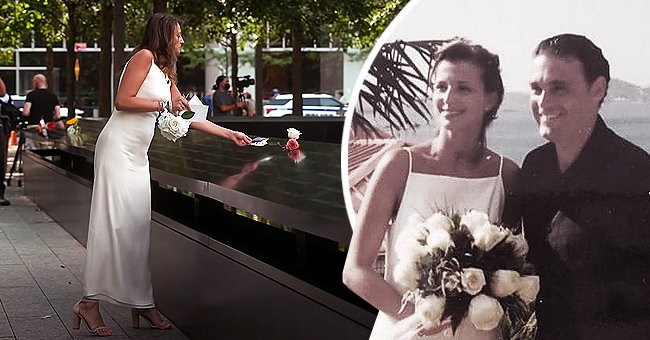 A woman wears her wedding dress and places a flower on her husband's 9/11 memorial along with an image of them on their wedding day | Photo: Facebook/InMemoriamSept11 & Youtube/CBS Evening News