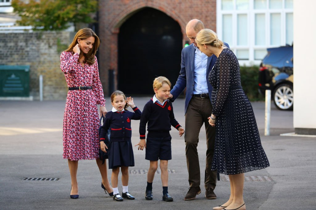 Princess Charlotte as she arrives for her first day of school, with her Prince George and her parents Prince William and Kate Middleton at Thomas's Battersea | Source: Getty Images