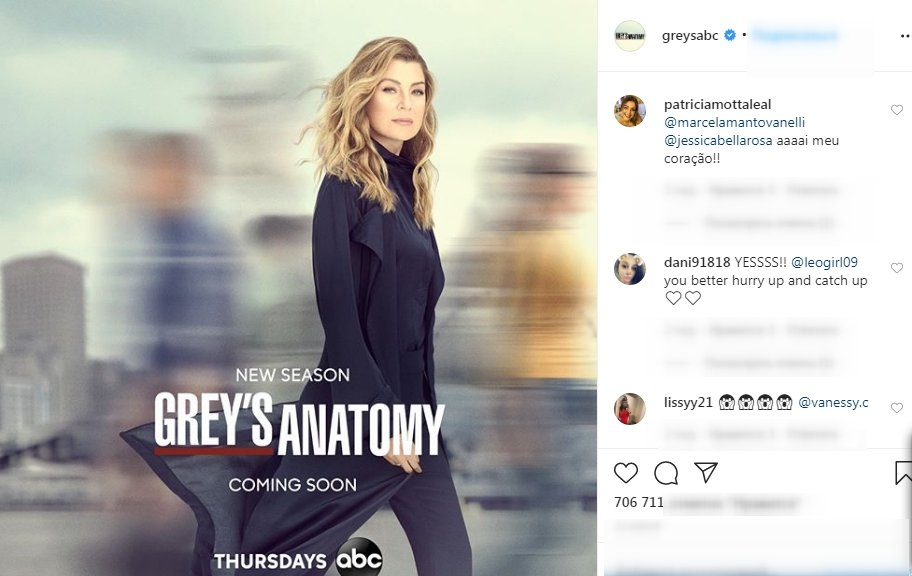"Screenshot of Instagram comments on ""Grey's Anatomy"" teaser. 