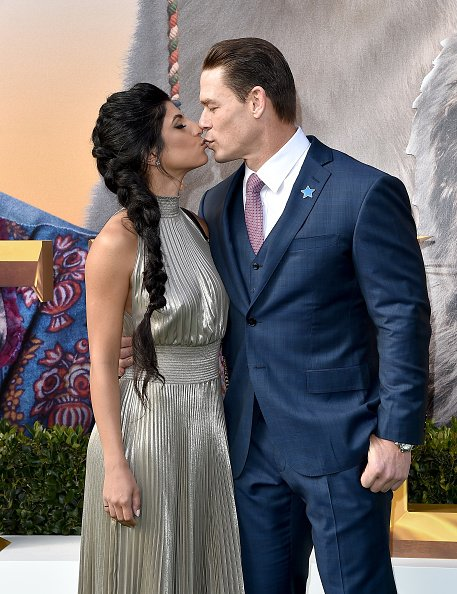 Shay Shariatzadeh and John Cena at Regency Village Theatre on January 11, 2020 in Westwood, California.   Photo: Getty Images