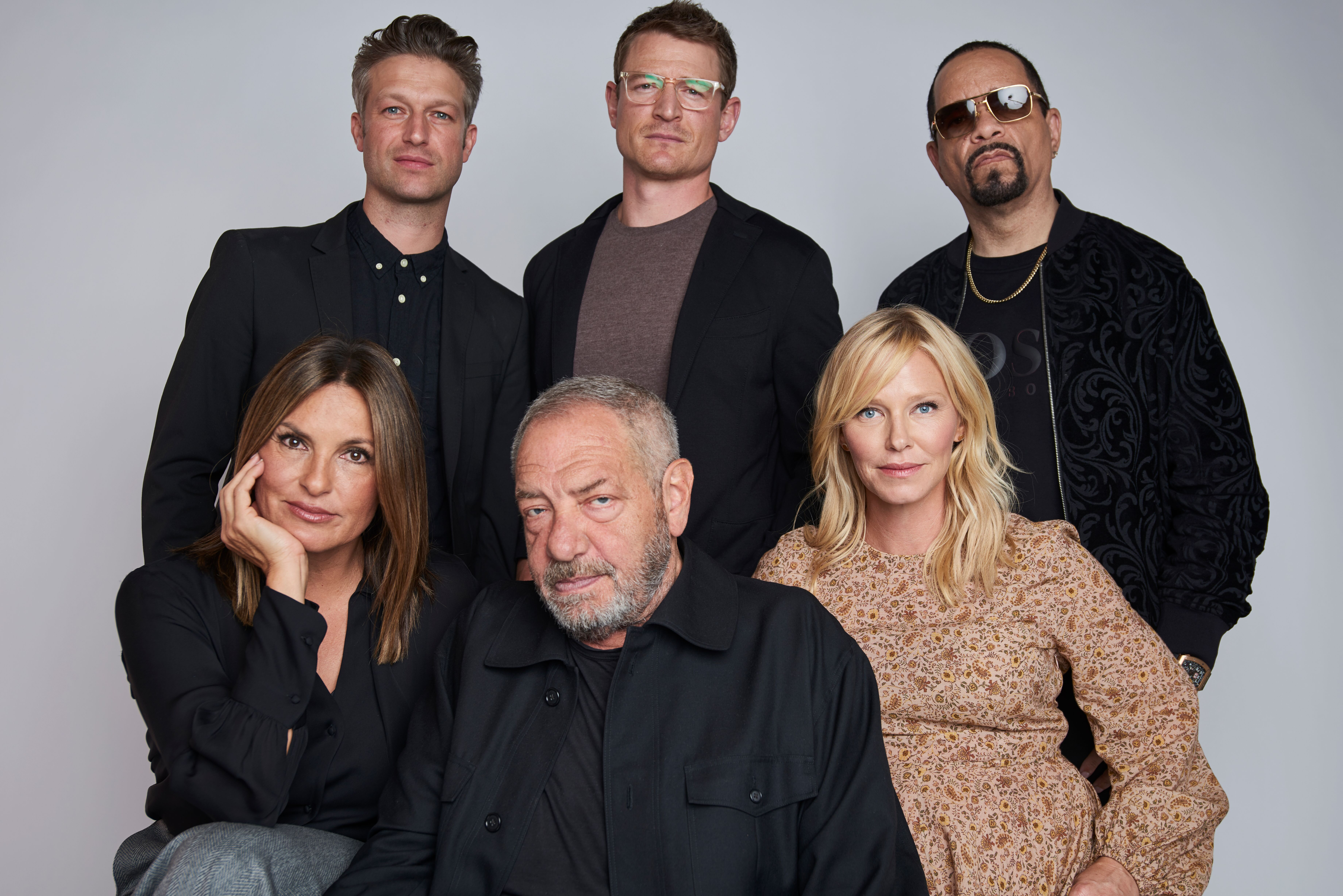 Mariska Hargitay, Peter Scanavino, Dick Wolf, Kelli Giddish, Ice-T, and Philip Winchester of NBC's Law & Order: SVU pose  | Getty Images