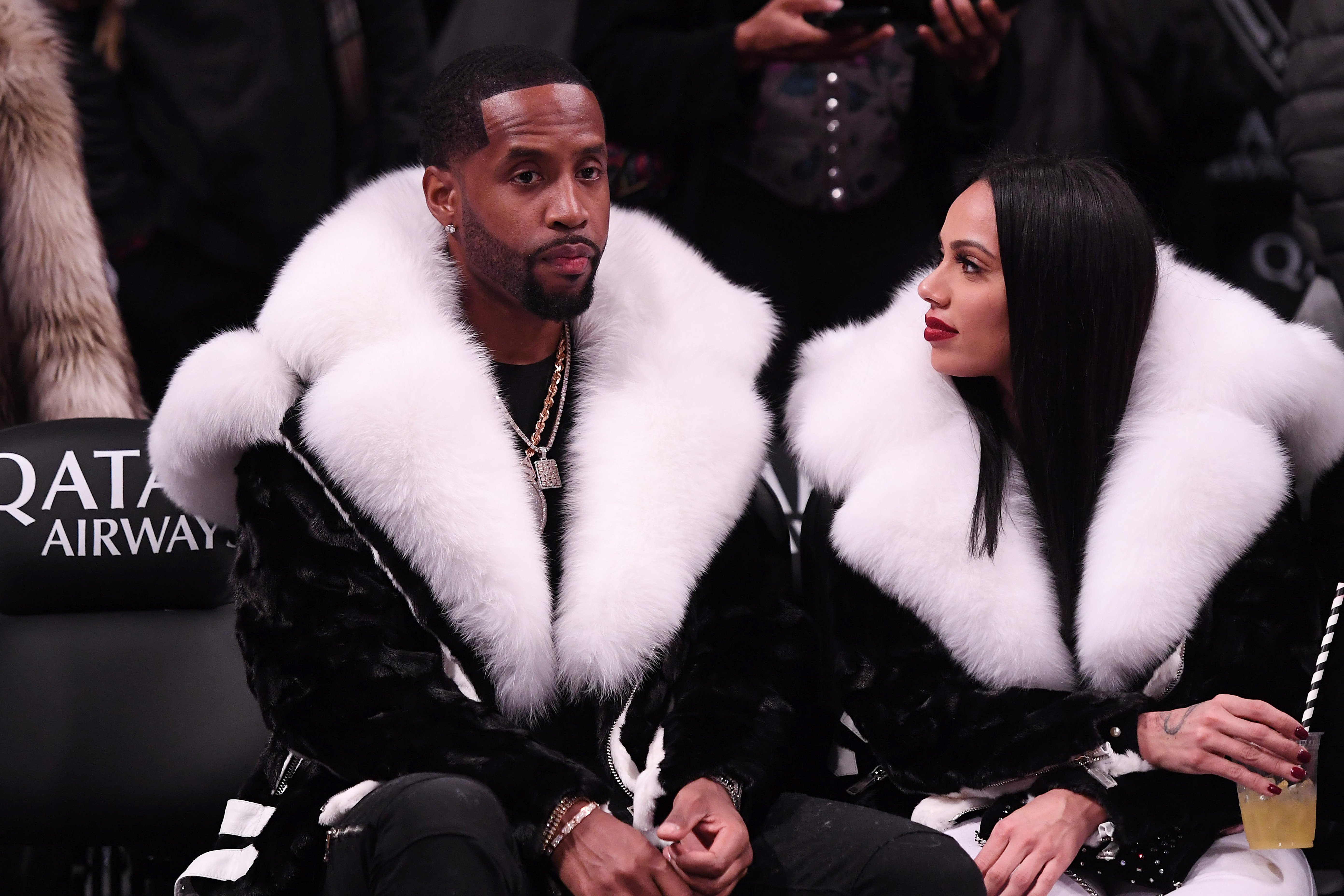 Safaree Samuels and Erica Mena attend the game between the Utah Jazz and the Brooklyn Nets at Barclays Center on November 28, 2018, in New York.| Photo: Getty Images