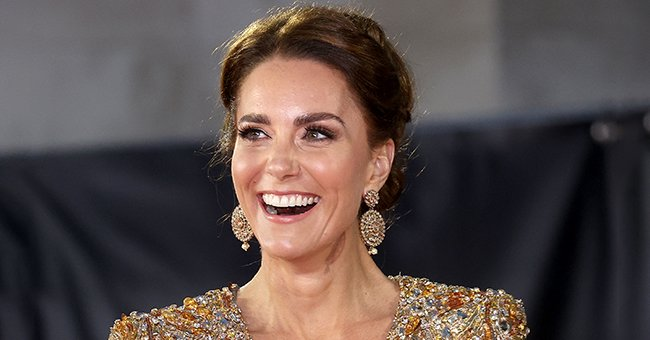 """A close-up of Kate Middleton at the premiere of """"No Time To Die,"""" 2021, London, England. 
