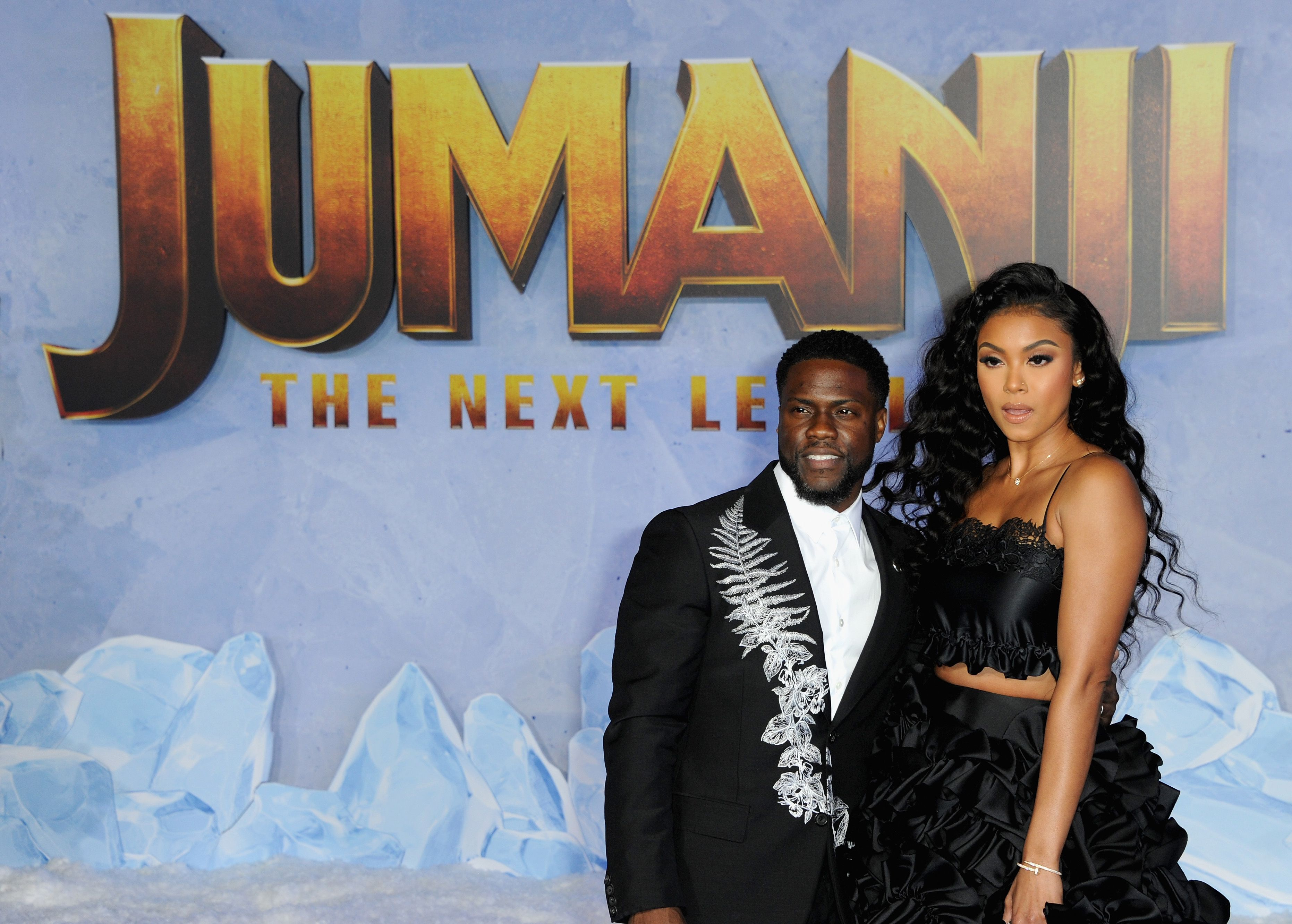 """Kevin Hart and wife Eniko Parrish at the premiere of """"Jumanji: The Next Level"""" in December 2019 in Hollywood, California 