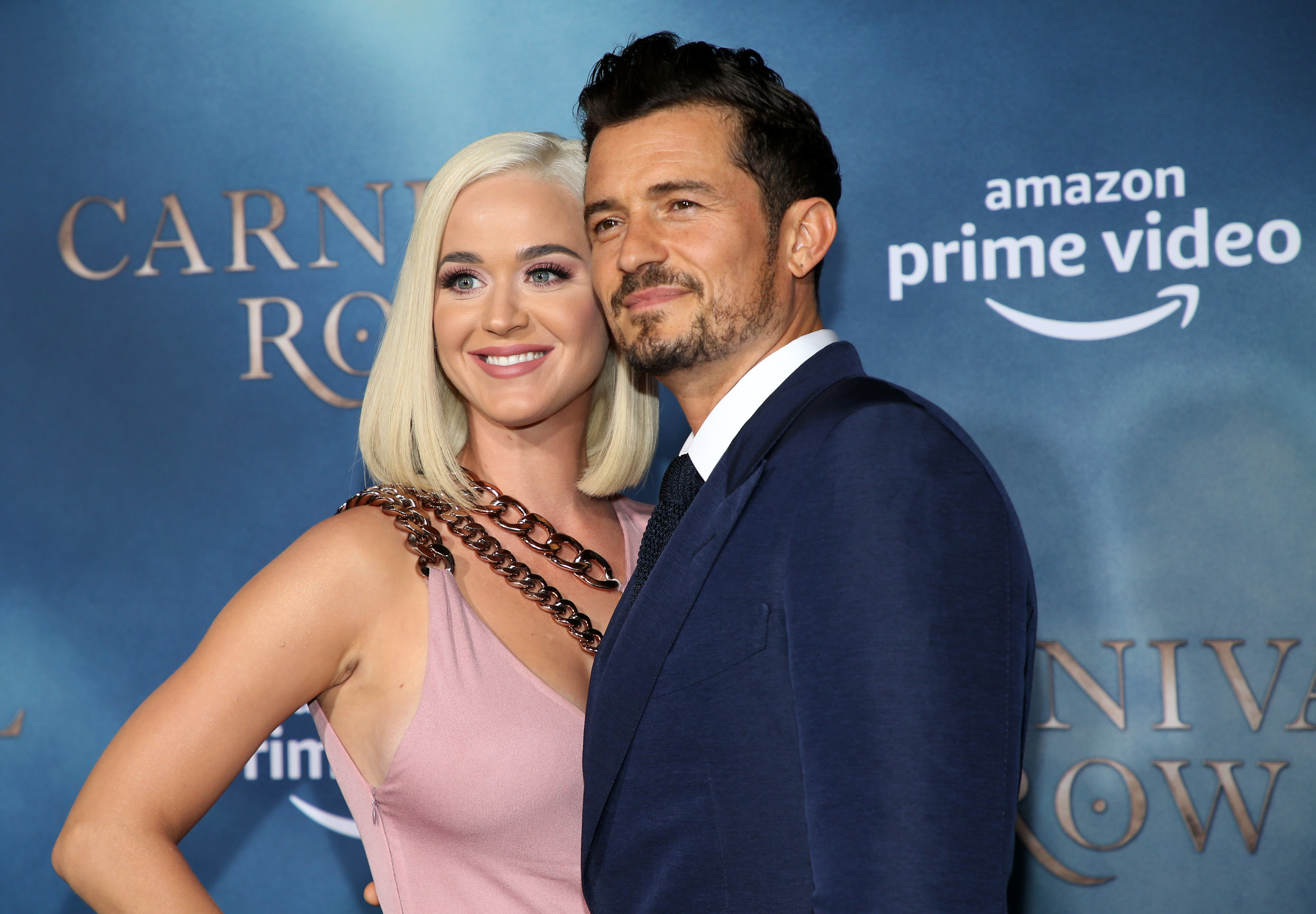 """Katy Perry and Orlando Bloom attend the premiere of """"Carnival Row""""  on August 21, 2019, in Hollywood, California. 