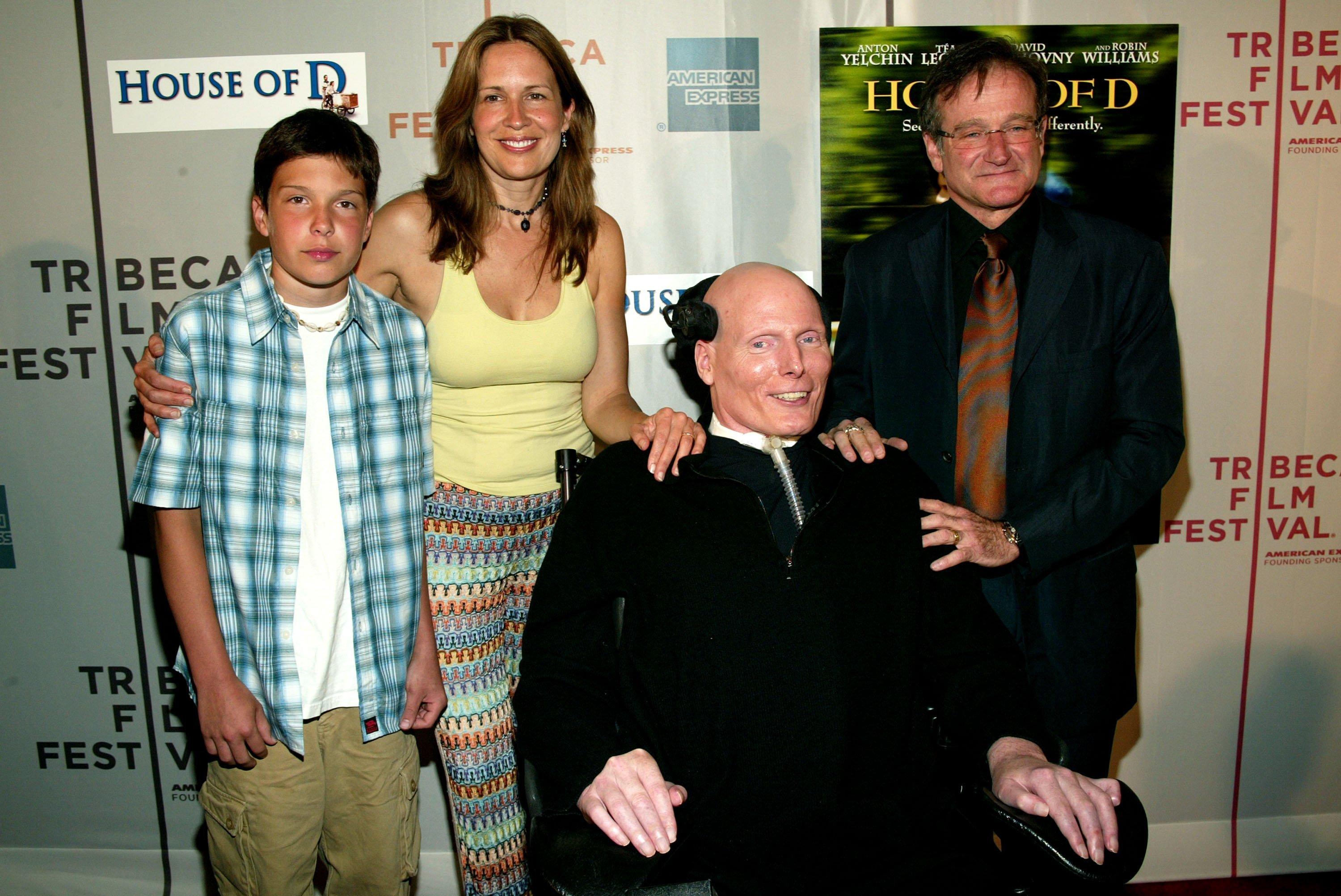 "Robin Williams, poses with Christopher Reeve, his wife Dana Reeve and son Will at the 2004 screening of ""House of D"" in New York City 