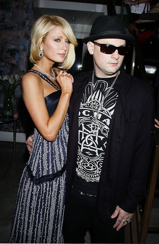 "Paris Hilton and Benji Madden at a press conference for her new show ""Paris Hilton's My New BFF"" on March 13, 2008, in Los Angeles, California 