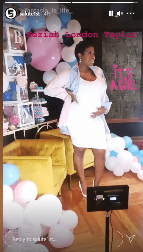Fantasia Barrino holds her baby bump during their baby gender reveal party in January 2021.    Photo: instagram.com/salute1st